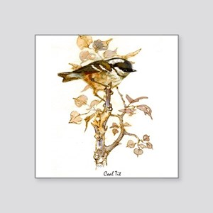 "Coal Tit Peter Bere Design Square Sticker 3"" x 3"""